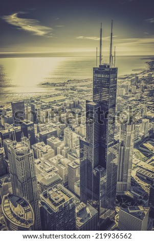 Chicago financial district aerial view with skyscrapers and city skyline - stock photo