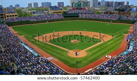 CHICAGO, IL -- APRIL 30, 2010: The Chicago Cubs defeated the Arizona Diamondbacks during a Friday afternoon game at Wrigley Field on April 30, 2010 in Chicago, Illinois - stock photo