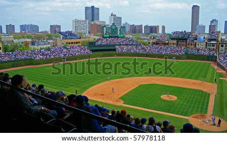 CHICAGO, IL - APRIL 30: The Chicago Cubs defeated the Arizona Diamondbacks during a Friday afternoon game at Wrigley Field on April 30, 2010 in Chicago, Illinois - stock photo