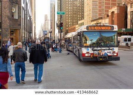 "CHICAGO, IL - CIRCA APRIL, 2016: streets of Chicago at daytime. Chicago, colloquially known as the ""Windy City"", is the third most populous city in the USA, following New York and Los Angeles - stock photo"