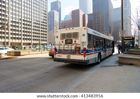 "CHICAGO, IL - CIRCA MARCH, 2016: streets of Chicago at daytime. Chicago, colloquially known as the ""Windy City"", is the third most populous city in the USA, following New York City and Los Angeles - stock photo"