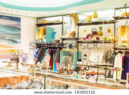 Chicago, IL December 12: Boutique Fashion store interior. High end shopping experience  in Chicago airport on December  12th 2013. Chicago Airport has large number of high end shopping choices - stock photo