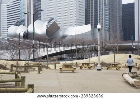 CHICAGO,IL - DECEMBER 14: Chicago Jay Pritzker Pavilion at Millennium Park on december 14, 2014 in Chicago, Illinois USA. The Pavilion hosts many concerts, and has capacity for 11,000 people.  - stock photo