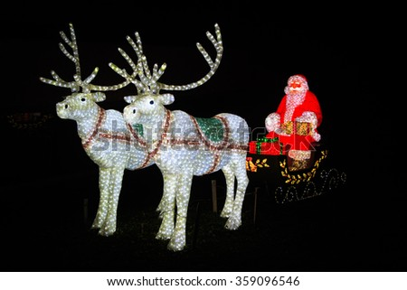 Chicago IL: December 15 2015 - Christmas light show at Chicago Zoo - stock photo