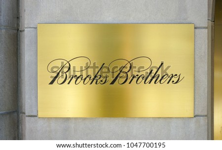 CHICAGO, IL -12 FEB 2018- View of Brooks Brothers clothing store on Michigan Avenue in Chicago, Illinois. Brooks Brothers is the oldest men's clothier in the United States.