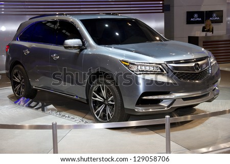 CHICAGO, IL - FEBRUARY 16: Acura MDX prototype 2014 at the annual International auto-show, February 16, 2013 in Chicago, IL - stock photo