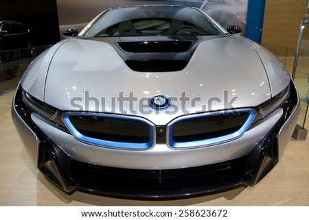 CHICAGO, IL - FEBRUARY 15: BMW I8 at the annual International auto-show, February 15, 2015 in Chicago, IL - stock photo