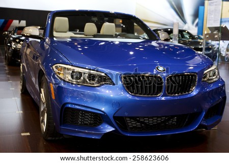 CHICAGO, IL - FEBRUARY 15: BMW M4 CONVERTIBLE at the annual International auto-show, February 15, 2015 in Chicago, IL - stock photo