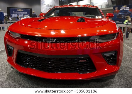 CHICAGO, IL - FEBRUARY 15: Chevrolet Camaro 2016 at the annual International auto-show, February 15, 2016 in Chicago, IL