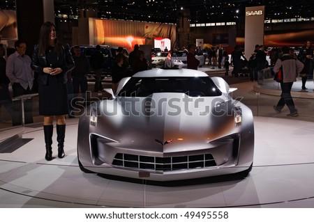 CHICAGO, IL - FEBRUARY 15: Corvette concept model at the International auto-show, February 15, 2009 in Chicago, IL - stock photo