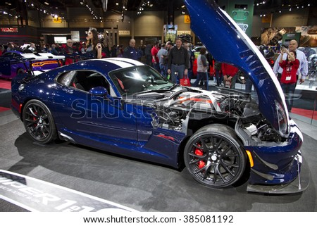 CHICAGO, IL - FEBRUARY 15: Dodge Viper 2016 at the annual International auto-show, February 15, 2016 in Chicago, IL