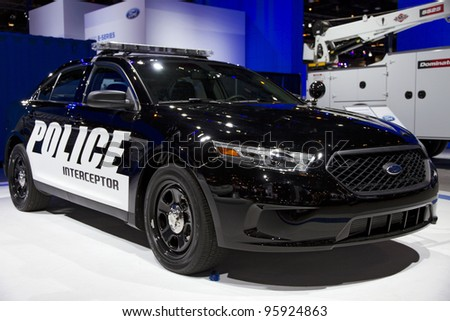 CHICAGO, IL - FEBRUARY 19: Ford Police Interceptor at the annual International auto-show, February 19, 2012 in Chicago, IL - stock photo
