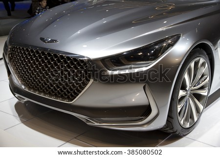 CHICAGO, IL - FEBRUARY 15: Genesis Vision G at the annual International auto-show, February 15, 2016 in Chicago, IL
