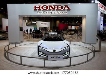 CHICAGO, IL - FEBRUARY 8: Honda FCE concept at the annual International auto-show, February 8, 2014 in Chicago, IL - stock photo