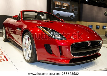 CHICAGO, IL - FEBRUARY 15: 2016 JAGUAR F-TYPE at the annual International auto-show, February 15, 2015 in Chicago, IL - stock photo