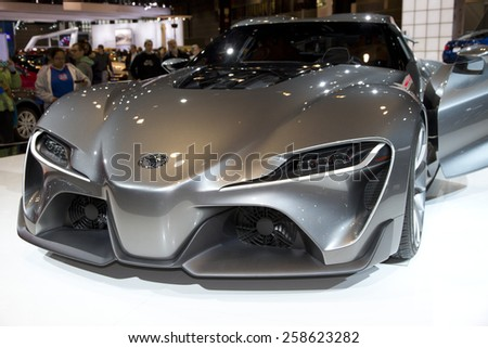CHICAGO, IL - FEBRUARY 15: TOYOTA FT-1 Concept car at the annual International auto-show, February 15, 2015 in Chicago, IL - stock photo