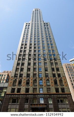 CHICAGO, IL - JULY 8: Carbide & Carbon Building, built in 1929, an example of Art Deco architecture designed by Daniel and Hubert Burnham, a landmark of Chicago on July 8, 2012. - stock photo