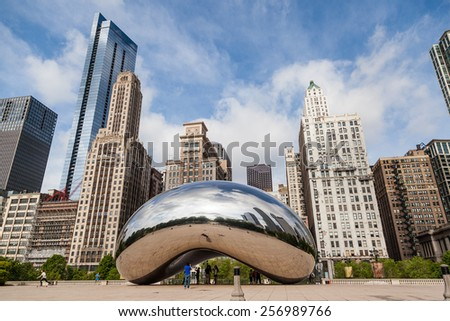 CHICAGO, IL - Jun 1: Jay Pritzker Pavilion and Chicago downtown on June 1, 2014. It is one of the premier outdoor Amphitheaters located centrally in Millennium Park, Chicago. - stock photo
