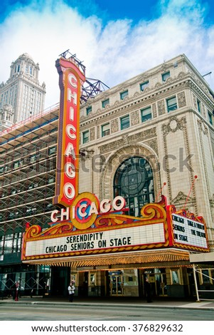 CHICAGO, IL - MAY 22: Chicago Theater on MAY 22, 2008 in Chicago, Illinois.
