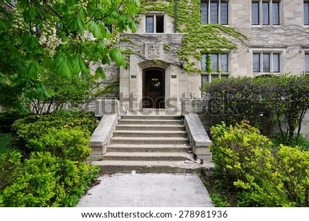 CHICAGO, IL -14 MAY 2015- The Gothic campus of the University of Chicago, which counts close to 15,000 undergraduate and graduate students, is located in the Hyde Park neighborhood. - stock photo