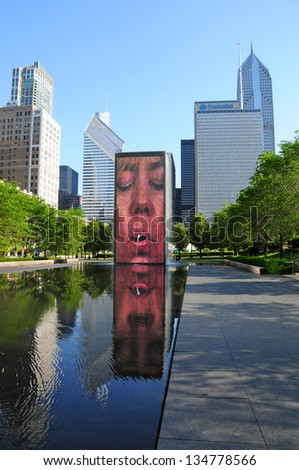 CHICAGO,IL - MAY 19 : The Jaume Plensa's Crown fountain on May 19, 2012 in Millennium Park, Chicago. An interactive work of public art and video sculpture featured. It operates from May to October. - stock photo