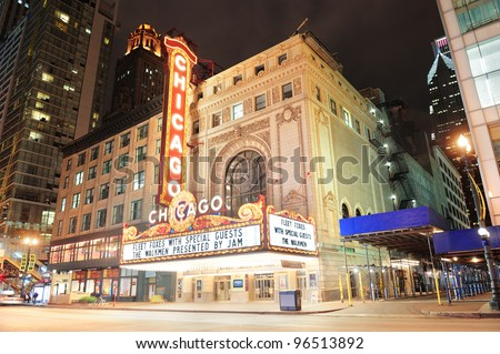 CHICAGO, IL - OCT 6: Chicago Theatre exterior on October 6, 2011 in Chicago, Illinois. Built in 1921, Chicago Theatre was the flagship for the B&K group and was listed as a Chicago Landmark in 1983. - stock photo