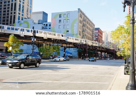 CHICAGO, IL - OCT 3: Metro in Chicago downtown on October 3, 2011 in Chicago, Illinois. Chicago is the third most populous city in the United States, after New York City and Los Angeles - stock photo