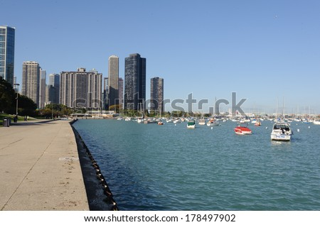 CHICAGO, IL - OCT 3: Yachtes in downtown of Chicago on October 3, 2011 in Chicago, Illinois. Chicago is the third most populous city in the United States, after New York City and Los Angeles