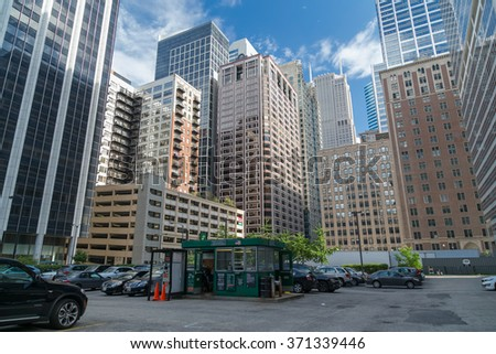 Chicago, IL/USA - circa July 2015: Streets of Downtown Chicago, Illinois