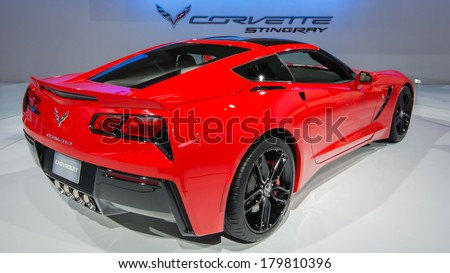 CHICAGO, IL/USA - FEBRUARY 7: A 2014 Chevrolet (Chevy) Corvette car at the Chicago Auto Show (CAS) on February 7, 2013, in Chicago, Illinois. - stock photo