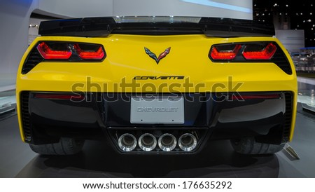CHICAGO, IL/USA - FEBRUARY 7: A 2015 Chevrolet (Chevy) Corvette Z06 car at the Chicago Auto Show (CAS) on February 7, 2014, in Chicago, Illinois. - stock photo