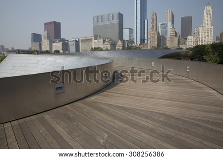 CHICAGO,IL/USA - JULY 5: Public BP walkway in Millenium park on July 5 2015 in Chicago, IL. Millenium Park is the second most popular public attraction in the city of Chicago. - stock photo