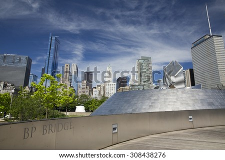CHICAGO,IL/USA - JUNE 16: Public BP walkway in Millenium park on June 16 2015 in Chicago, IL. Millenium Park is the second most popular public attraction in the city of Chicago. - stock photo