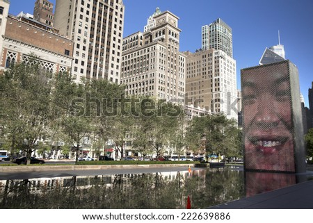 CHICAGO,IL/USA-OCTOBER 8: Water fountains with lighted faces on october 8th 2014 in Millennium Park Chicago. This park within the Loop community area is one of the most popular in the city of Chicago.