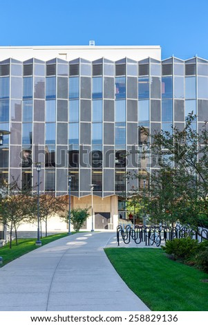CHICAGO, IL, USA - SEPTEMBER 22, 2014: Facade of the University of Chicago law school in Chicago, IL, USA in September 2014. - stock photo
