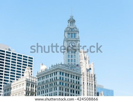 CHICAGO, ILLINOIS - APRIL 17, 2016: Chicago Business District, Downtown, Skyscraper - stock photo