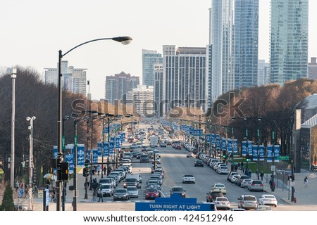 CHICAGO, ILLINOIS - APRIL 17, 2016: Chicago Skyscraper and Downtown - stock photo