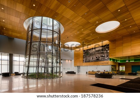 CHICAGO, ILLINOIS - APRIL 15: Terrarium in the lobby of the Rush University Medical Center on April 15, 2014 in Chicago, Illinois - stock photo