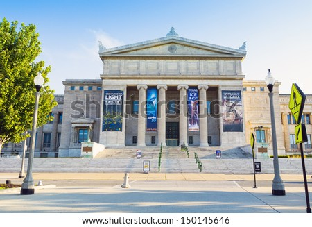 CHICAGO, ILLINOIS - AUG 10: The Field Museum is located on Lake Shore Drive next to Lake Michigan, part of a scenic complex the Museum Campus, on August 10, 2013 in Chicago, Illinois, USA