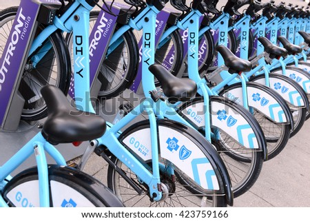 CHICAGO, ILLINOIS, CIRCA MAY 2016. Divvy, a Bicycle share program in Chicago gives residents and tourists one more transportation option and reduces the consumption of fossil fuels.