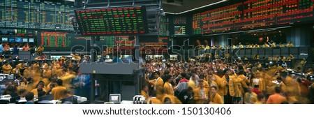 CHICAGO, ILLINOIS - CIRCA 1999: Panoramic view of Chicago Mercantile Exchange in Chicago, IL - stock photo