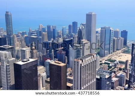 Chicago, Illinois in the United States. City skyline with Lake Michigan. - stock photo