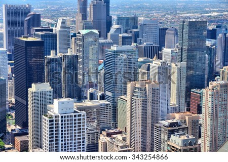 Chicago, Illinois in the United States. City skyline with skyscrapers.