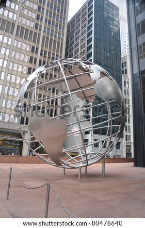 CHICAGO, ILLINOIS - JULY 28: Willis Tower 25 foot globe sculpture fabricated by Poblocki Sign Company of Wisconsin on the northwest plaza Adams St. and Wacker Dr. Chicago July 28, 2010.