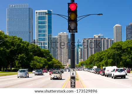CHicago Illinois-3 June 2013:Afternoon traffic in downtown Chicago is often congested due to the high volume of commuters - stock photo