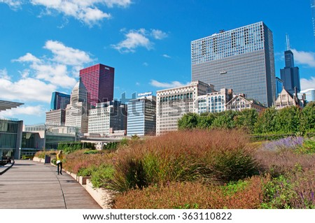 Chicago, Illinois: Millennium Park, community Loop area, skyline, skyscrapers and Willis Tower on September 22, 2014: Willis Tower, known as Sears Tower and the famous landmark, is 1729 feet high