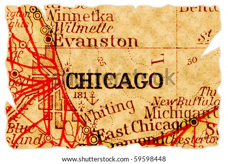 Chicago, Illinois on an old torn map from 1949, isolated. Part of the old map series. - stock photo