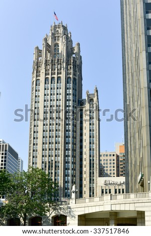 Chicago, Illinois - September 5, 2015: Famous Tribune building in downtown of Chicago, Illinois. - stock photo