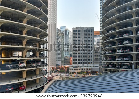 Chicago, Illinois - September 5, 2015: Marina City is a complex of two 60-story towers built in 1964  in Chicago, USA. Apartments, offices, restaurants, banks, theater,18 stories of parking space.