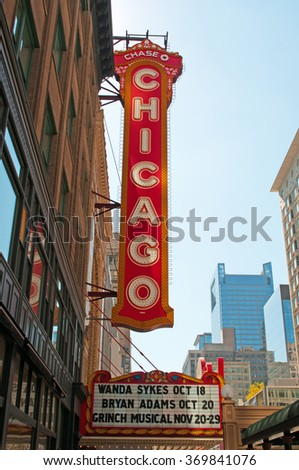 Chicago, Illinois: the Chicago Theatre on September 22, 2014. The Chicago Theatre, originally known as the Balaban and Katz Chicago Theatre, is a landmark located on North State Street built in 1921 - stock photo